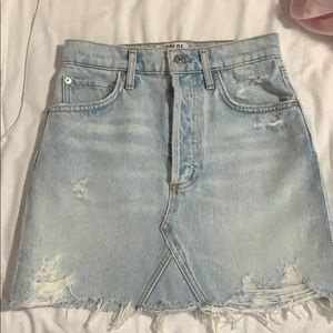 Agolde distressed denim skirt